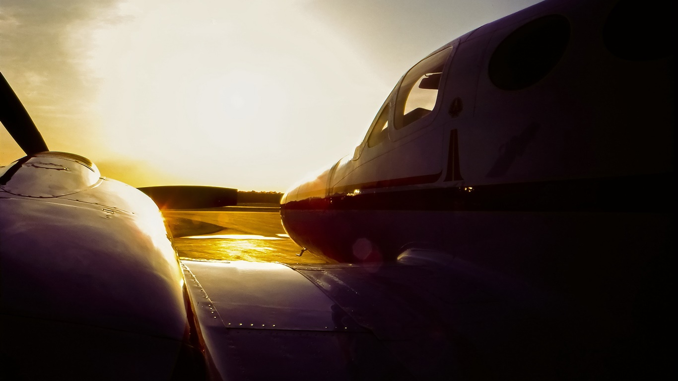 C3 Cessna airplane at sunset, airport 1366x768 wallpaper