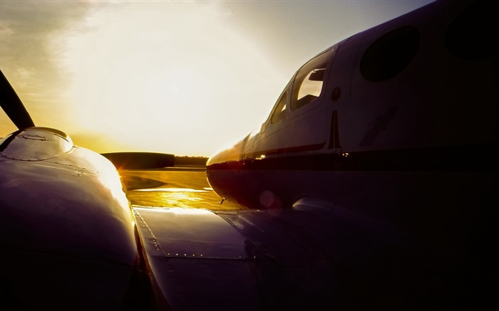 C3 Cessna airplane at sunset, airport Wallpapers Pictures Photos Images