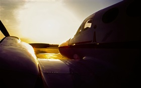 C3 Cessna airplane at sunset, airport HD wallpaper