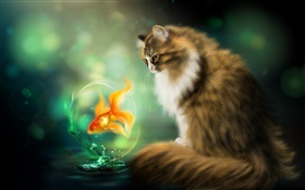 Cat and goldfish, art drawing