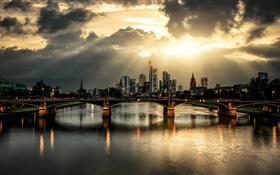 City, dusk, bridge, skyscrapers, river, clouds HD wallpaper