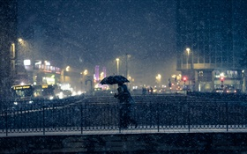 City night, lights, winter, snow, bridge, people, umbrella HD wallpaper
