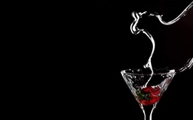 Cup, strawberry, water splash, black background HD wallpaper
