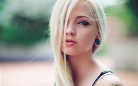Cute blonde girl, lips HD wallpaper
