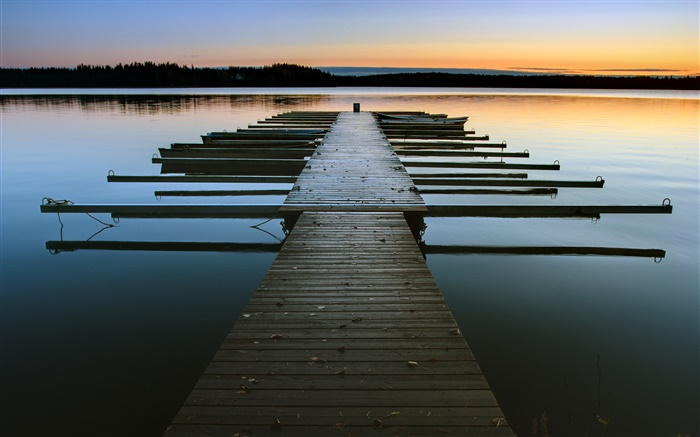 Dock, dusk, lake, water Wallpapers Pictures Photos Images
