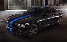 Dodge charger black car at night