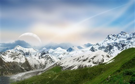 Dreamy World, mountains, snow, river, planet HD wallpaper