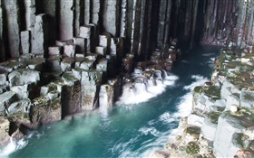 Fingal's Cave, water, rocks HD wallpaper