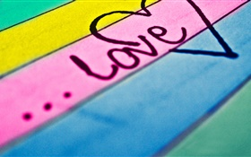 Love, colorful board background