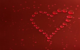 Love heart, water drops HD wallpaper