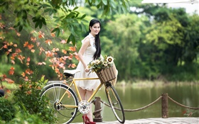 Smile Asian girl, white dress, bike, park HD wallpaper