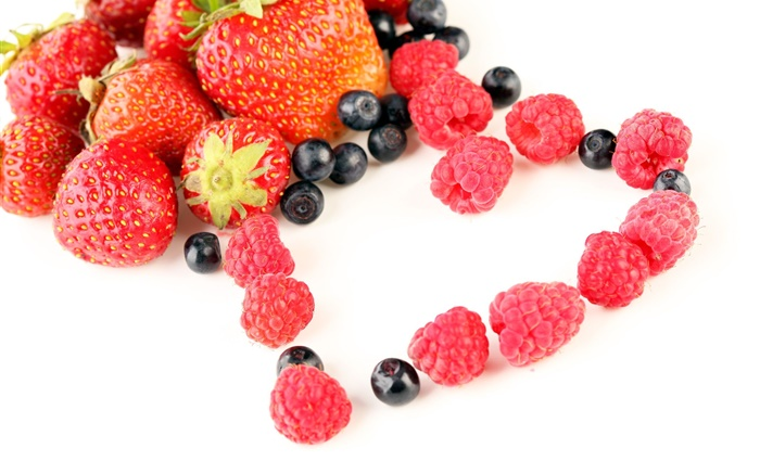 Strawberries, raspberries, blueberries, fruit, love hearts Wallpapers Pictures Photos Images