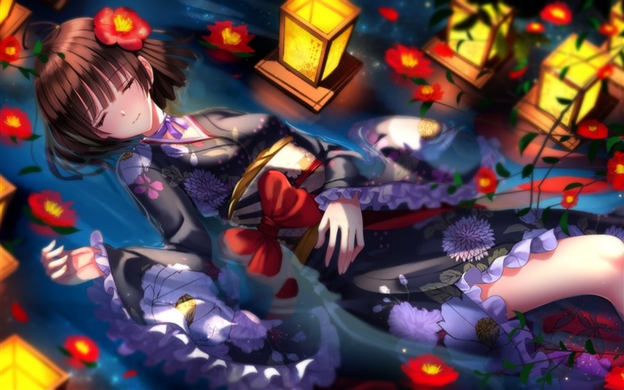 Sword Souls, kimono anime girl, flowers, night Wallpapers Pictures Photos Images