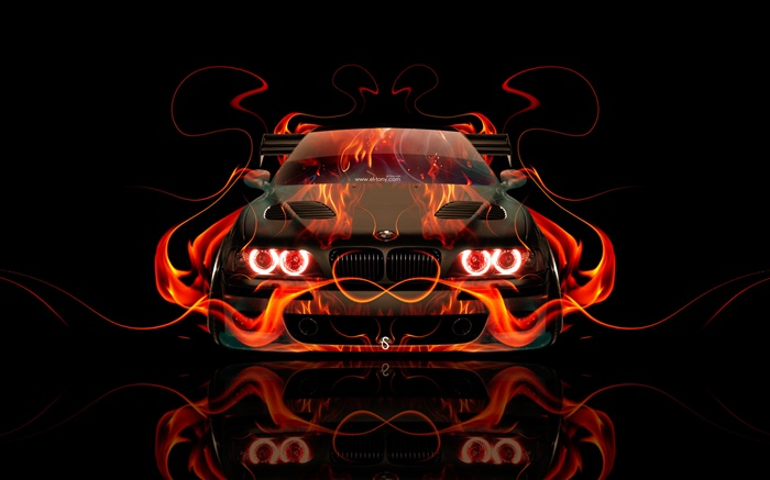 BMW orange fire, car front view, creative design Wallpapers Pictures Photos Images