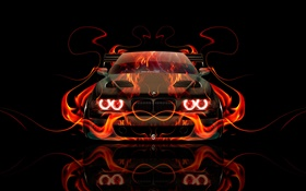 BMW orange fire, car front view, creative design HD wallpaper