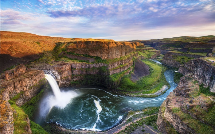 Beautiful nature, mountains, waterfall, canyon, river, clouds Wallpapers Pictures Photos Images