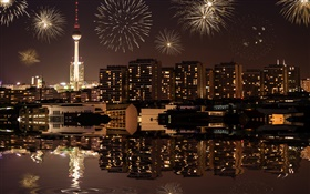 Cityscape, night, buildings, lights, river, Berlin, Germany HD wallpaper