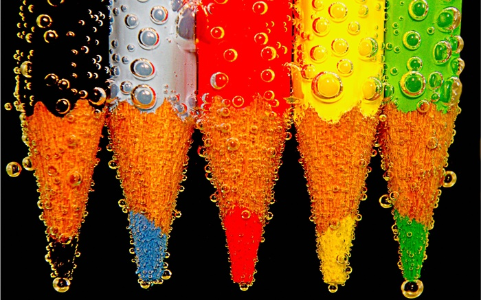 Colorful pencil, water drops Wallpapers Pictures Photos Images