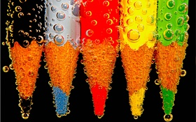 Colorful pencil, water drops HD wallpaper