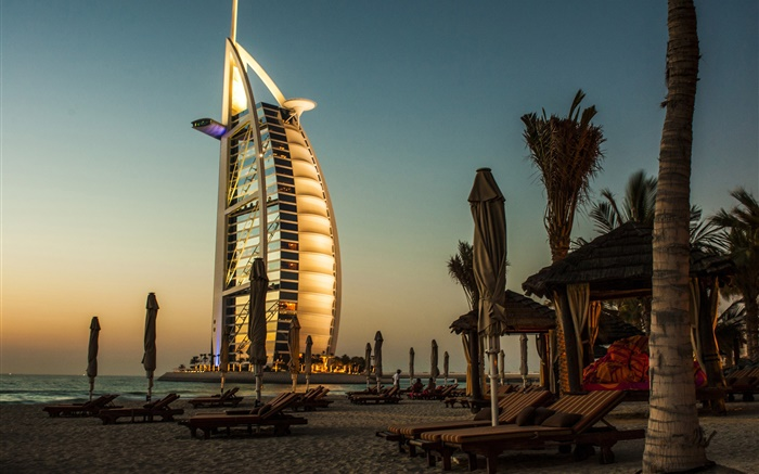 Dubai, hotel, sea, sunset Wallpapers Pictures Photos Images