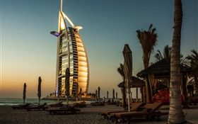 Dubai, hotel, sea, sunset HD wallpaper