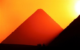 Egypt, Giza, pyramids, sunset HD wallpaper