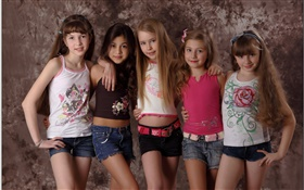 Fashion show, five lovely little girls, children HD wallpaper