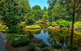 Gibbs Gardens, USA, pond, trees, grass