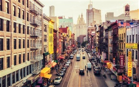 Manhattan, America, New York, East Broadway, Chinatown, street, cars