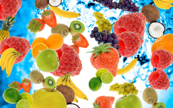 Many kinds fruits, raspberries, bananas, kiwi, strawberry, lemon, apple Wallpapers Pictures Photos Images