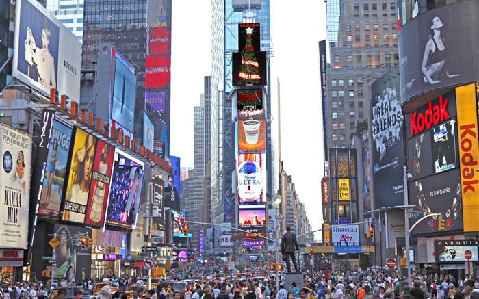 New York, Times Square, skyscrapers, street, people Wallpapers Pictures Photos Images