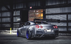 Nissan GT-R silver car rear view, city night