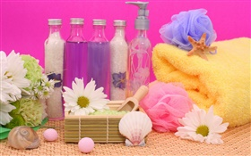 SPA, flowers, salt, towel, bottle