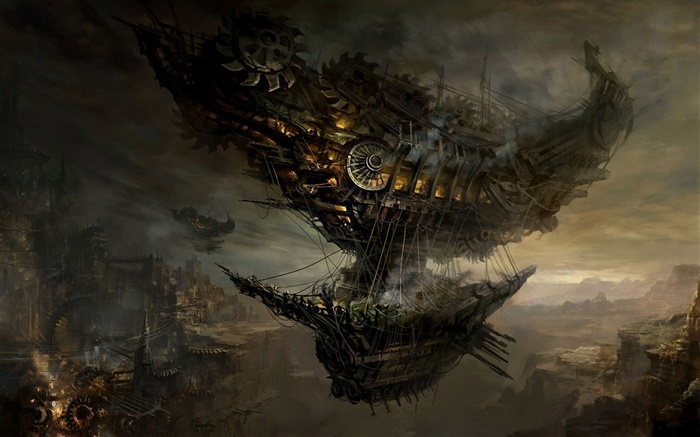 Steampunk, flying ship, art pictures Wallpapers Pictures Photos Images