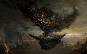 Steampunk, flying ship, art pictures