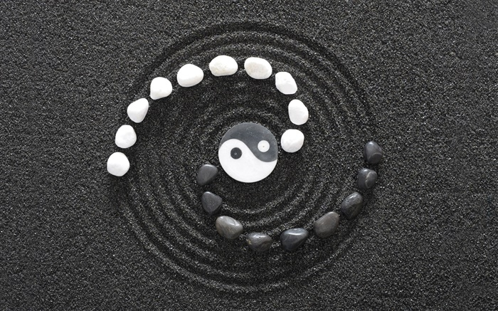Yin and Yang gossip, black and white Wallpapers Pictures Photos Images