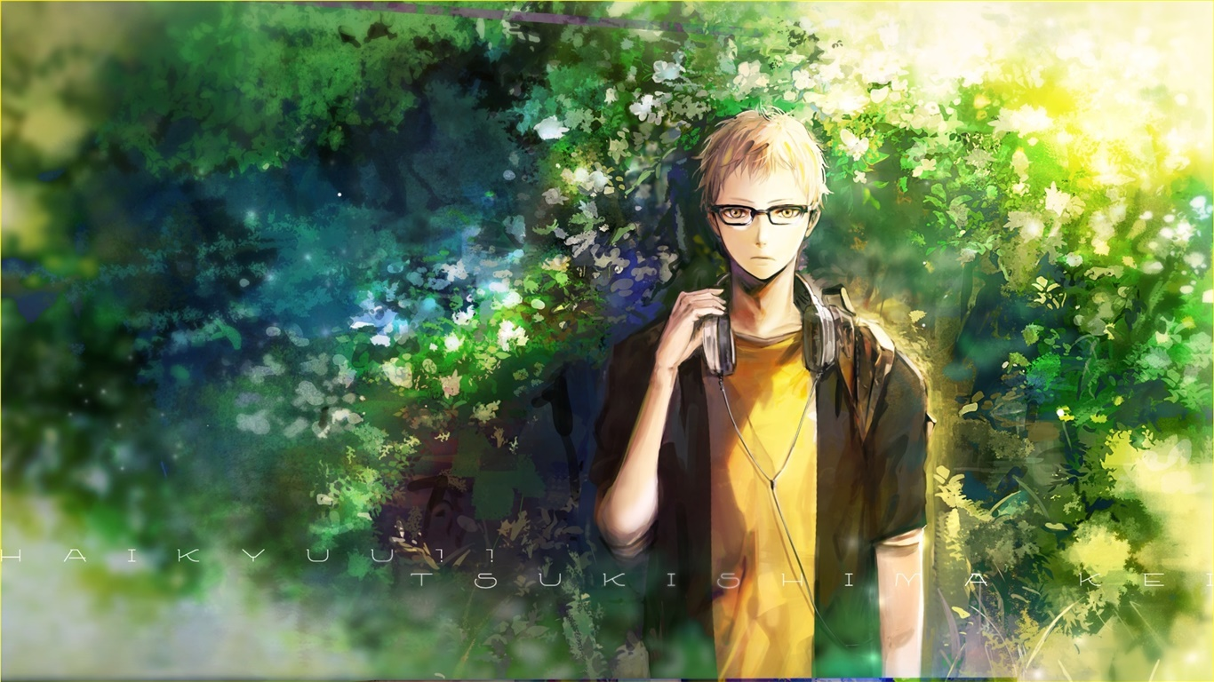 Anime boy listen music, nature, trees 1366x768 wallpaper