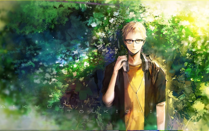 Anime Boy Listen Music Nature Trees Wallpapers Pictures Photos Images