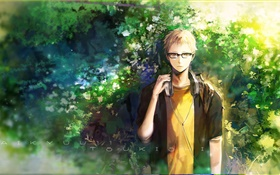 Anime boy listen music, nature, trees HD wallpaper