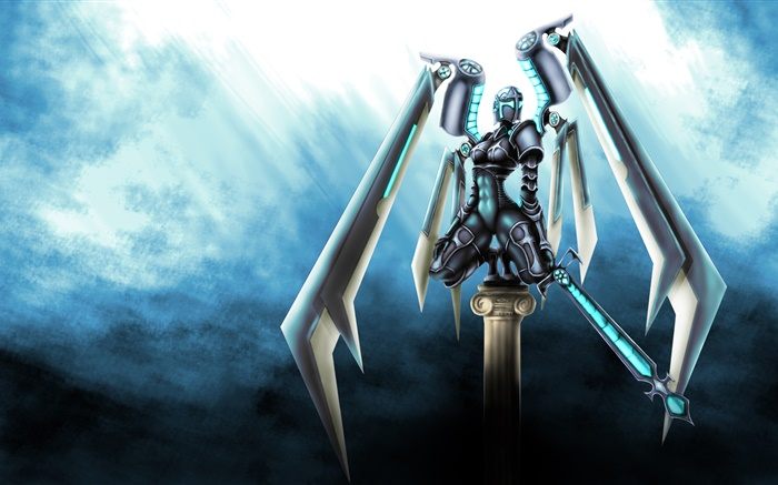 Art drawing, robot, sword, wings Wallpapers Pictures Photos Images