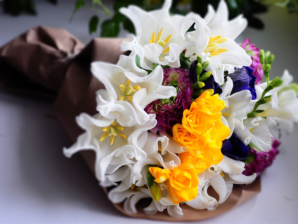 Bouquet flowers, white and yellow tulips 1024x768 wallpaper