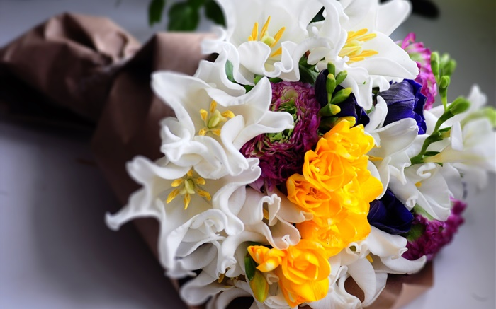Bouquet flowers, white and yellow tulips Wallpapers Pictures Photos Images