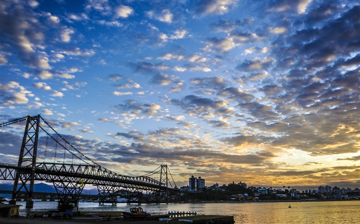 City, sunset, clouds, bridge, river, houses Wallpapers Pictures Photos Images