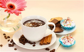 Coffee drink and cakes, pink flower HD wallpaper