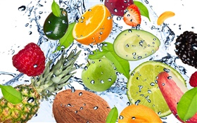 Different kinds of fruits in the water