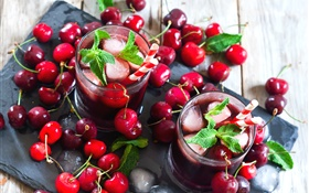 Fresh red cherries, drink, lemonade, mint HD wallpaper
