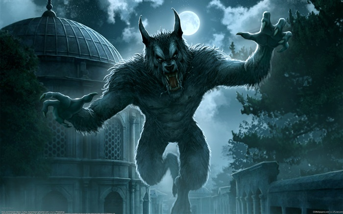 Full moon, werewolf, fantasy art Wallpapers Pictures Photos Images
