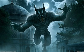 Full moon, werewolf, fantasy art HD wallpaper