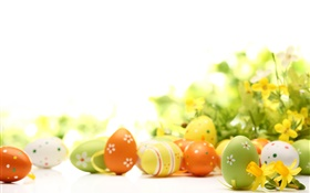 Happy Easter, eggs, flowers, spring HD wallpaper