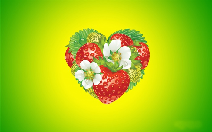 Love heart, flowers, strawberry, creative design Wallpapers Pictures Photos Images